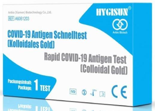 Obrázek produktu antigenní test 2019-nCoV ze slin, baleno jednotlivě, HYGISUN (výjimka MZCR Č. j.: MZDR 8842/2021-2/OLZP)