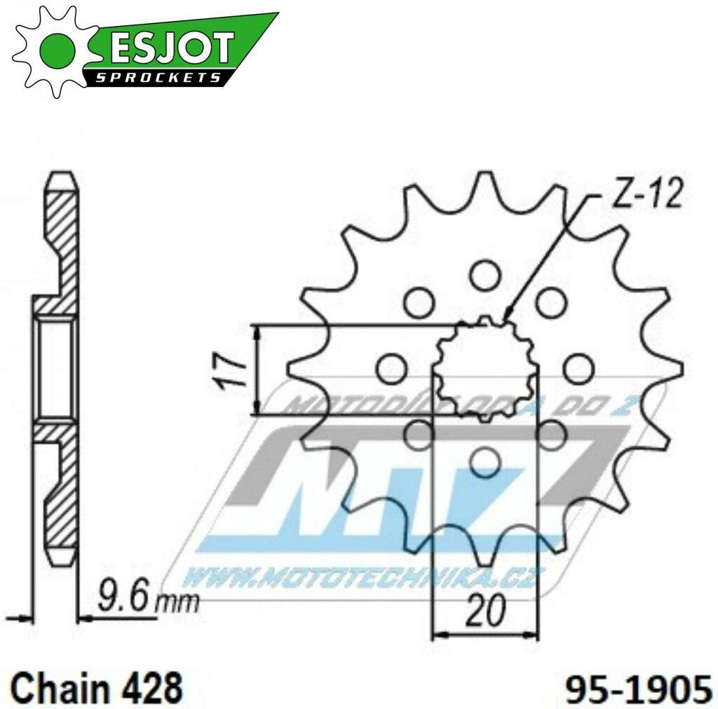 Kolečko řetězové (pastorek) 1905-14zubů ESJOT 50-15076-14 - Husqvarna 85TC / 18-21 + KTM 85SX / 18-21 + 85SX (LW) / 18-20 (es-50-15076)
