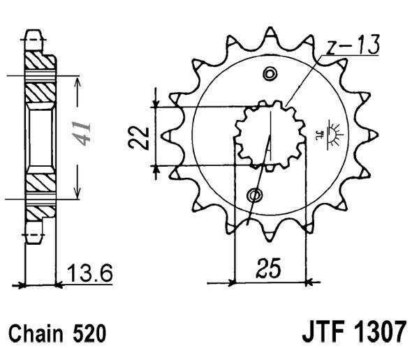 Obrázek produktu Řetězové kolečko JT 15 zubů, 520