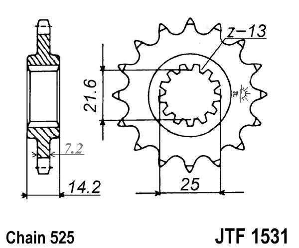 Obrázek produktu Řetězové kolečko JT 15 zubů, 525