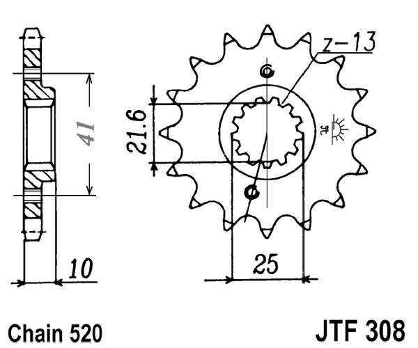 Obrázek produktu Řetězové kolečko JT 15 zubů, 520 rubber cushioned