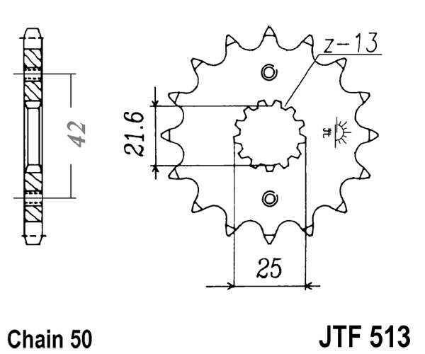 Obrázek produktu Řetězové kolečko JT 16 zubů, 530 rubber cushioned