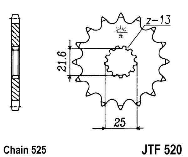 Obrázek produktu Řetězové kolečko JT 15 zubů, 525 rubber cushioned