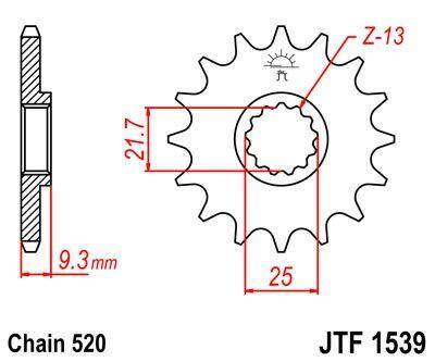 Obrázek produktu Řetězové kolečko JT 14 zubů, 520 rubber cushioned