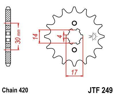 Obrázek produktu Řetězové kolečko JT 15 zubů, 420