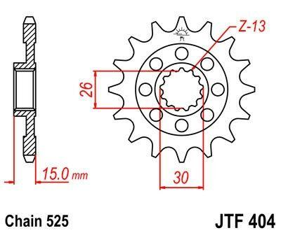Obrázek produktu Řetězové kolečko JT 17 zubů, 525 rubber cushioned