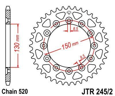 Obrázek produktu Řetězová rozeta JT 52 zubů, 520