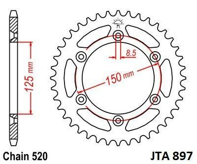 Obrázek produktu Hliníková řetězová rozeta JT 48 zubů, 520