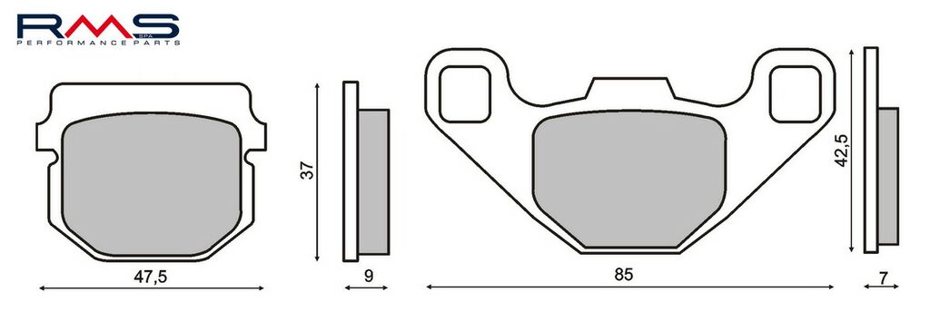 Obrázek produktu Brzdové destičky RMS organické Zadní (Kxt 250 Tecate A1)
