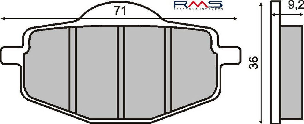 Obrázek produktu Brzdové destičky RMS organické Yamaha Dt 125 Lc/R, Zadní