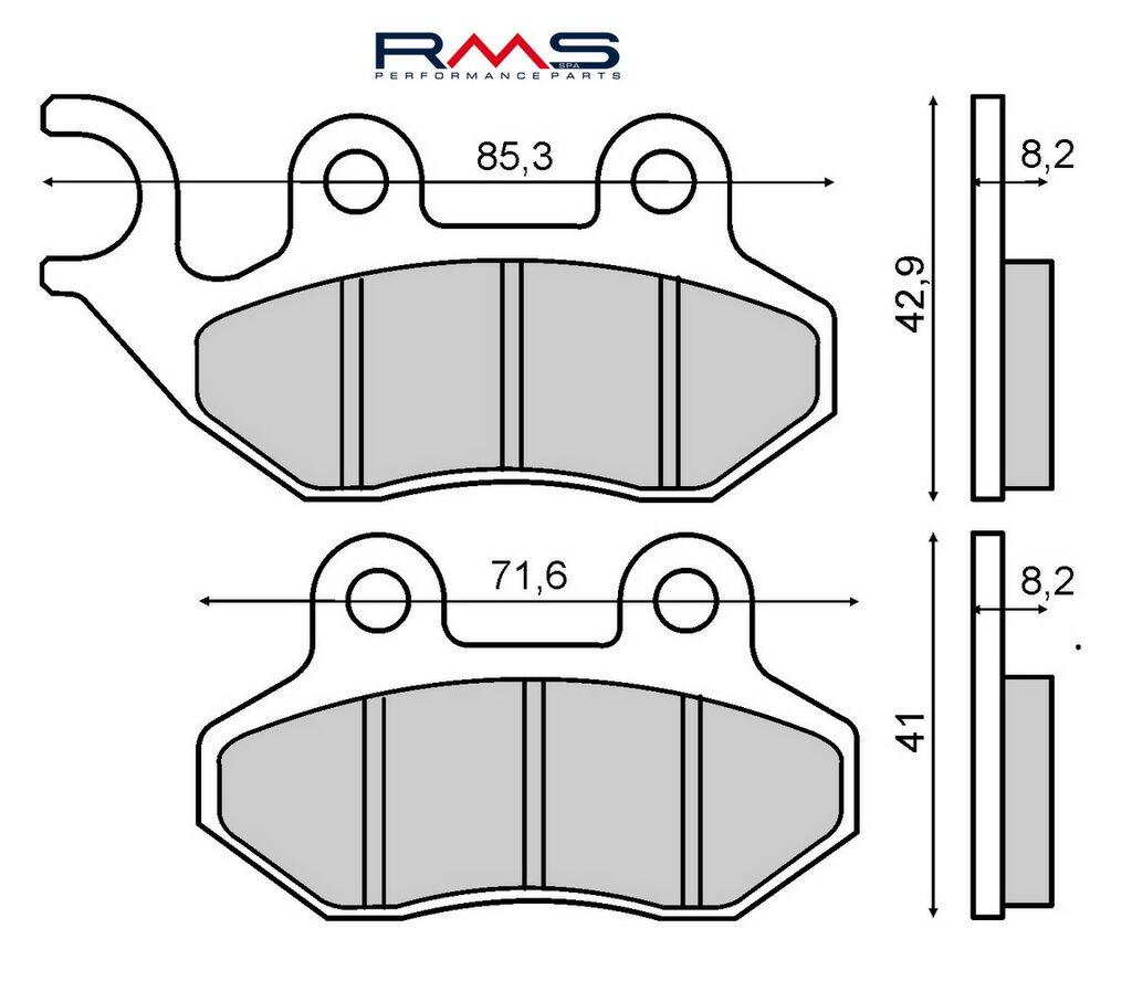 Obrázek produktu Brzdové destičky RMS organické Přední / Zadní