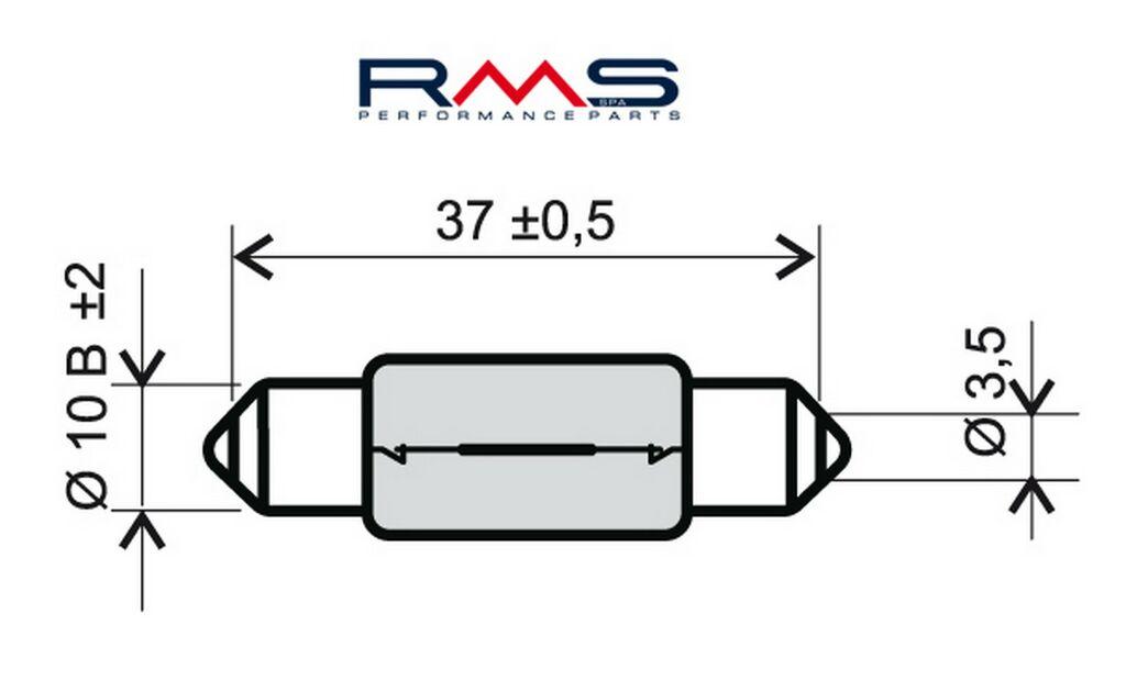 Obrázek produktu Žárovka RMS 12V 10W, T11X39 S8.5 bílá 246510165