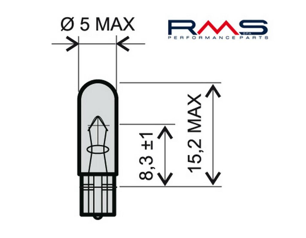 Obrázek produktu Žárovka RMS 12V 1,2W, W1,2W T5 bílá 246510245