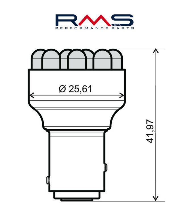 Obrázek produktu Žárovka RMS 12V 12 Led, BAY15D červená 246510542