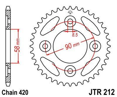 Obrázek produktu Řetězová rozeta JT 34 zubů, 420