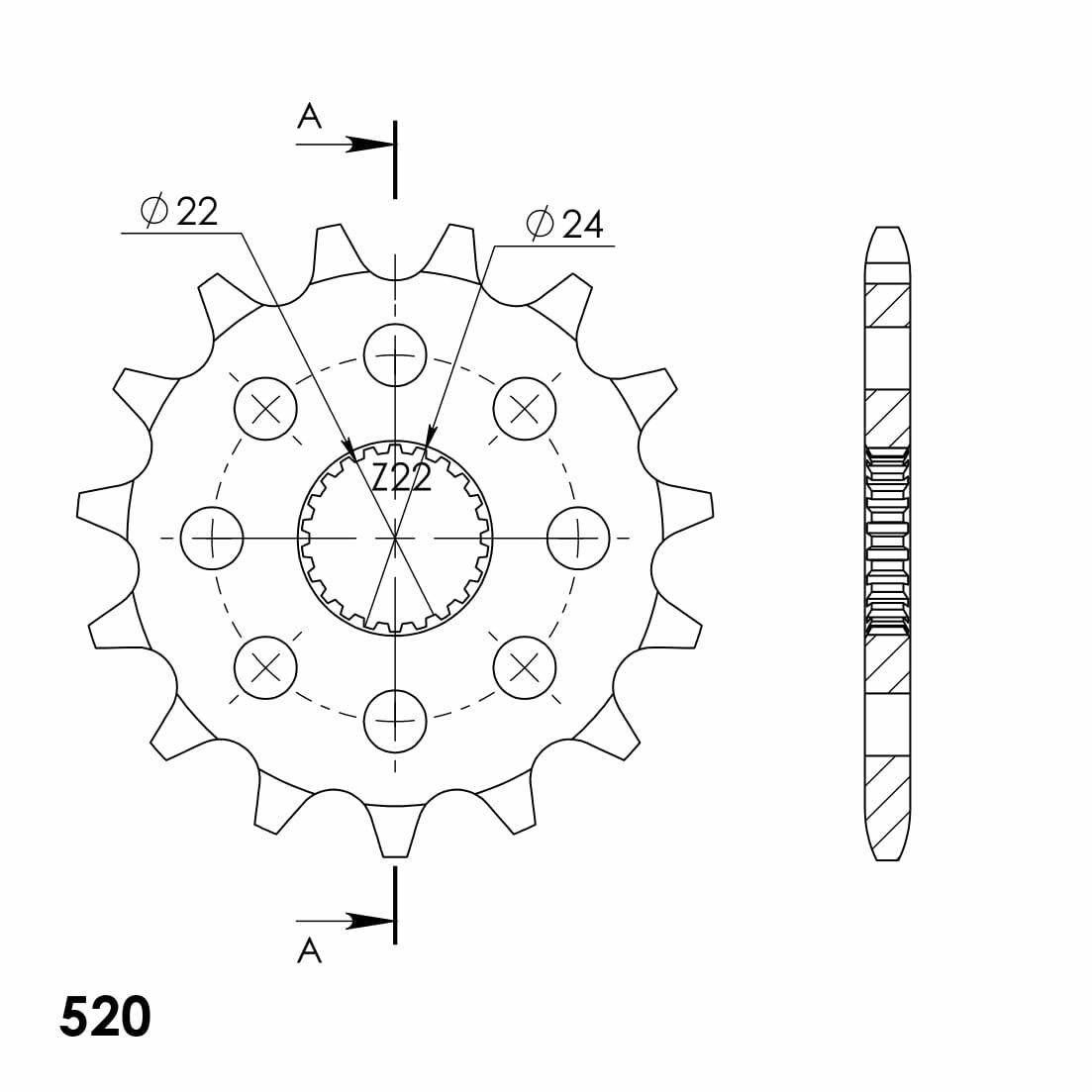 Obrázek produktu Řetězové kolečko SUPERSPROX 15 zubů, 520