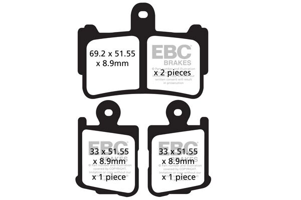 Obrázek produktu Brzdové destičky EBC Bez ABS; pravá/levá