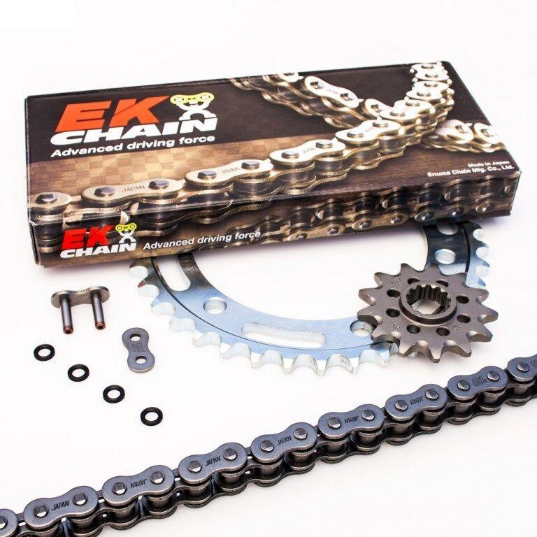 Obrázek produktu Řetězová sada EK PREMIUM EK + JT se zlatým řetězem řady ZVX3 -absolutní TOP kvalita