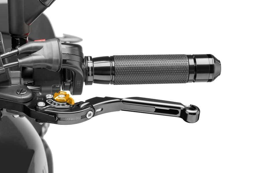 Obrázek produktu Páčka spojky bez adaptéru PUIG rozšiřitelná skládací černá/zlatá Přední brzda