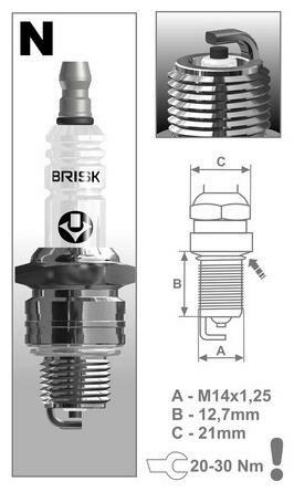 Obrázek produktu zapalovací svíčka N14C řada Super, BRISK - Česká Republika