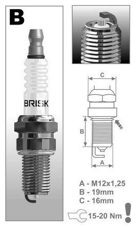 Obrázek produktu zapalovací svíčka BR12S řada Silver Racing, BRISK - Česká Republika