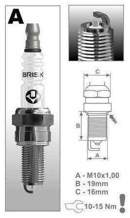 Obrázek produktu zapalovací svíčka AR10S řada Silver Racing, BRISK - Česká Republika