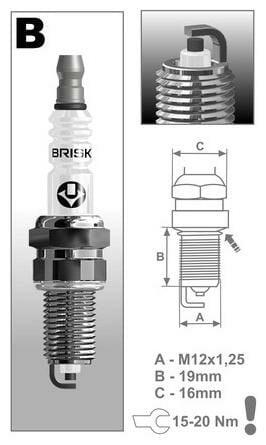 Obrázek produktu zapalovací svíčka BR12YC řada Super, BRISK - Česká Republika