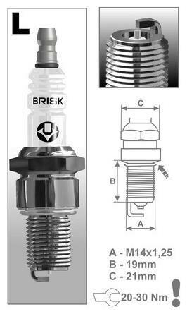 Obrázek produktu zapalovací svíčka LR12SL řada Silver Racing, BRISK - Česká Republika