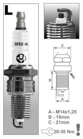 Obrázek produktu zapalovací svíčka LR17YC řada Super, BRISK - Česká Republika