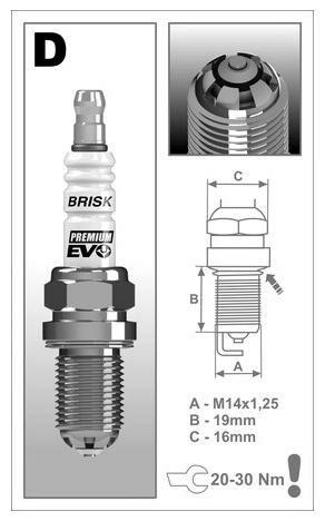 Obrázek produktu zapalovací svíčka DR15SXC řada Premium EVO , BRISK - Česká Republika 1898