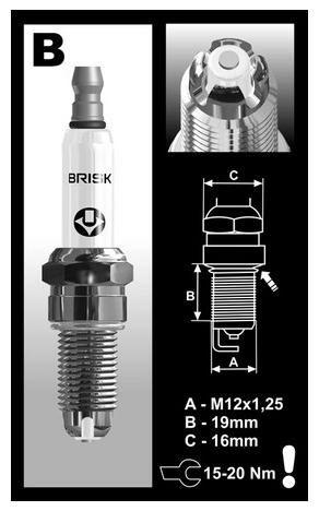 Obrázek produktu zapalovací svíčka BOR12LGS řada PREMIUM LGS RACING, BRISK - Česká Republika