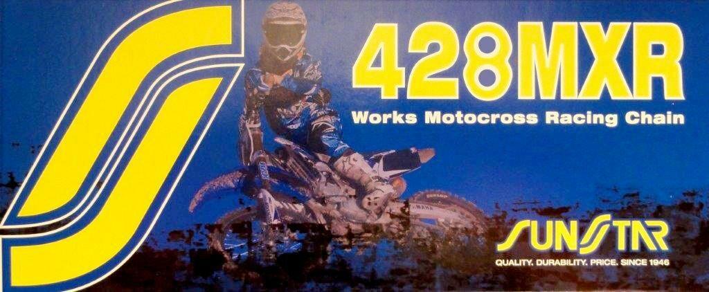 Obrázek produktu řetěz 428MXR, SUNSTAR (bezkroužek, barva zlatá, 132 článků)