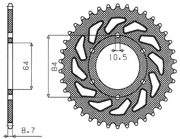 Obrázek produktu ocelová rozeta pro sekundární řetězy typu 530, SUNSTAR (45 zubů)