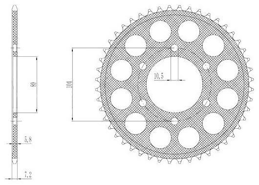 Obrázek produktu duralová rozeta pro sekundární řetězy typu 525, SUNSTAR (40 zubů)