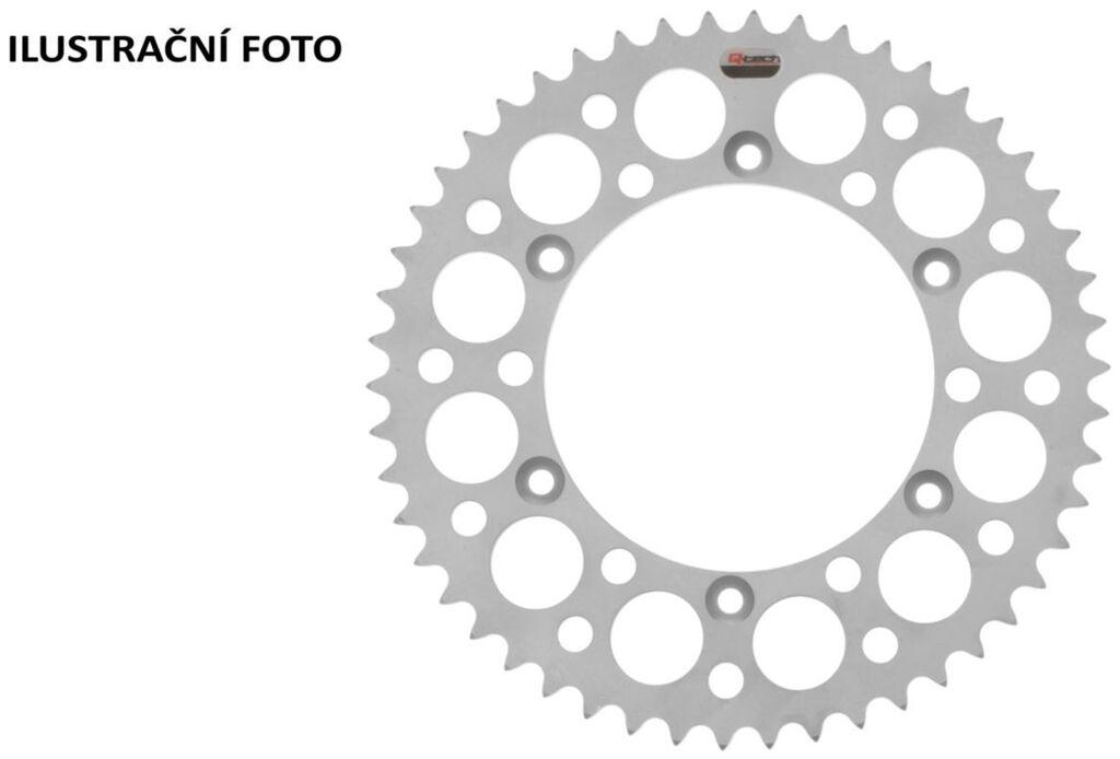 Obrázek produktu duralová rozeta pro sekundární řetězy typu 520, Q-TECH (stříbrný elox, 52 zubů)