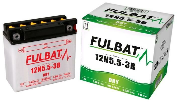 Obrázek produktu baterie 12V, 12N5.5-3B, 5,8Ah, 44A, konvenční 135x60x130, FULBAT (vč. balení elektrolytu)
