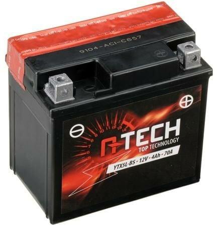 Obrázek produktu baterie 12V, YTX5L-BS, 4Ah, 70A, bezúdržbová MF AGM 114x71x106, A-TECH (vč. balení elektrolytu)