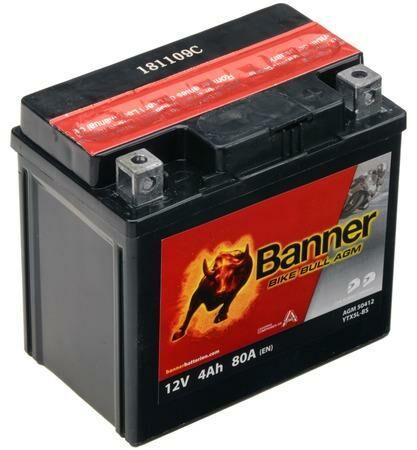 Obrázek produktu baterie 12V, YTX5 l-BS, 4Ah, 80A, BANNER Bike Bull AGM 114x71x106