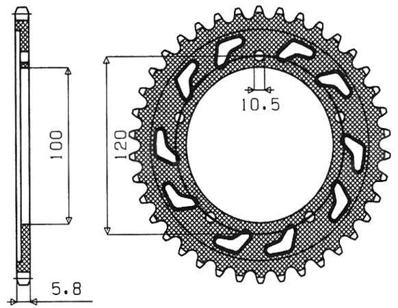 Obrázek produktu ocelová rozeta pro sekundární řetězy typu 520, SUNSTAR (44 zubů)