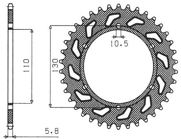 Obrázek produktu ocelová rozeta pro sekundární řetězy typu 520, SUNSTAR (38 zubů)