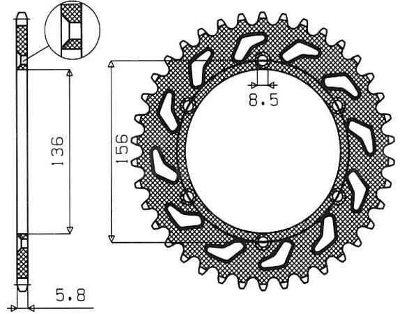 Obrázek produktu ocelová rozeta pro sekundární řetězy typu 520, SUNSTAR (48 zubů)