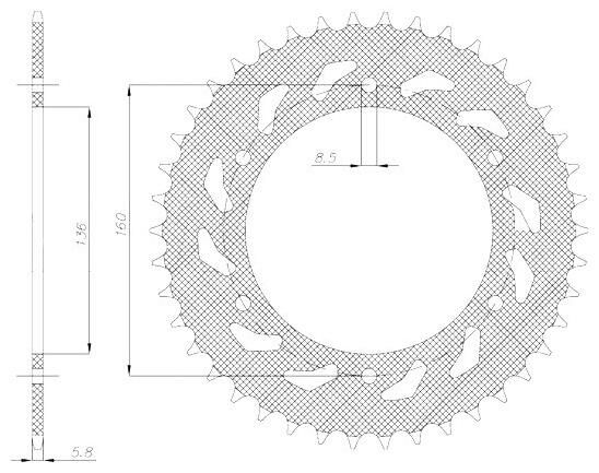 Obrázek produktu ocelová rozeta pro sekundární řetězy typu 520, SUNSTAR (47 zubů)