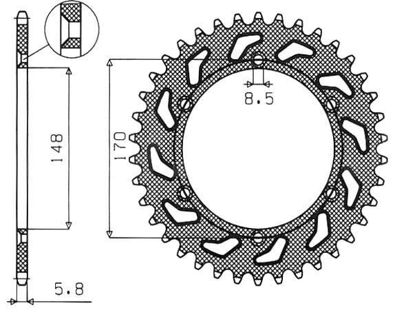 Obrázek produktu ocelová rozeta pro sekundární řetězy typu 520, SUNSTAR (42 zubů)