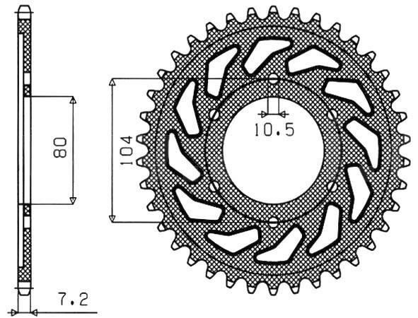 Obrázek produktu ocelová rozeta pro sekundární řetězy typu 525, SUNSTAR (42 zubů)