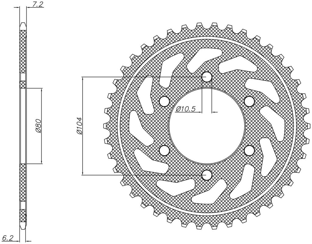 Obrázek produktu ocelová rozeta pro sekundární řetězy typu 525, SUNSTAR (40 zubů)