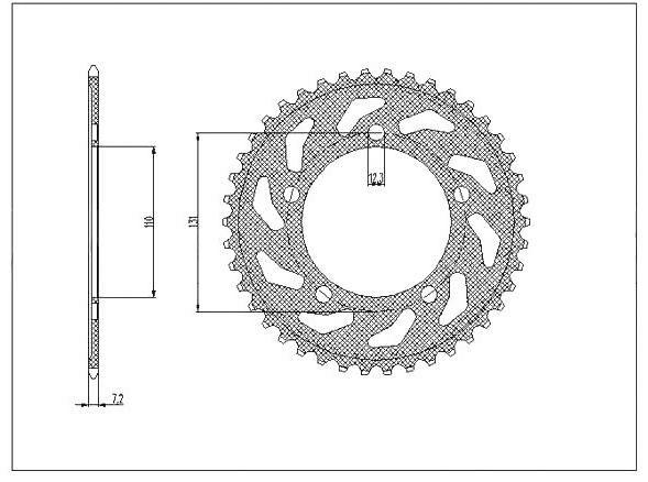 Obrázek produktu ocelová rozeta pro sekundární řetězy typu 525, SUNSTAR (44 zubů)