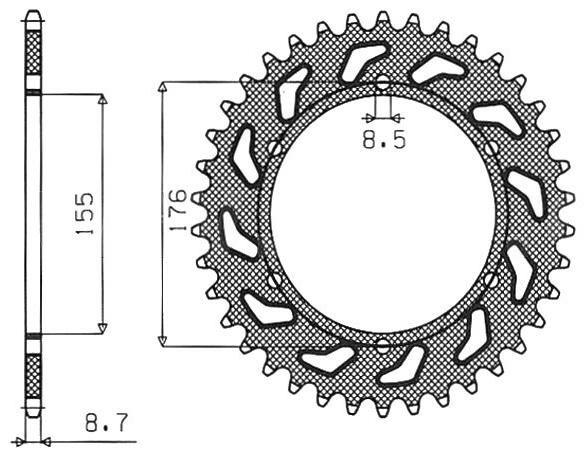 Obrázek produktu ocelová rozeta pro sekundární řetězy typu 530, SUNSTAR (44 zubů)