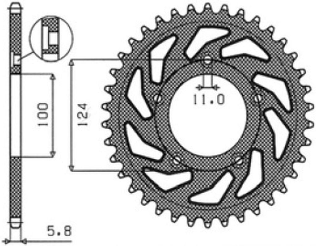Obrázek produktu ocelová rozeta pro sekundární řetězy typu 520, SUNSTAR (45 zubů)