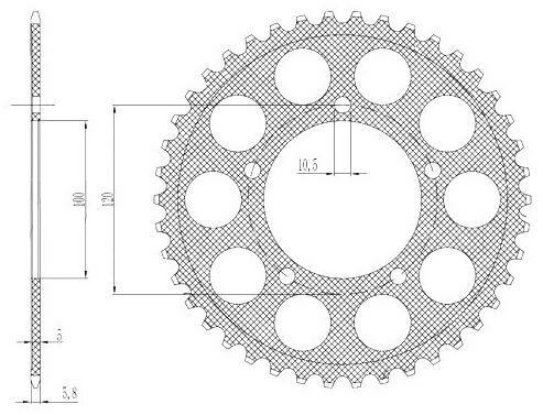 Obrázek produktu duralová rozeta pro sekundární řetězy typu 520, SUNSTAR (42 zubů)