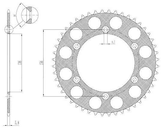 Obrázek produktu duralová rozeta pro sekundární řetězy typu 520, SUNSTAR (51 zubů)